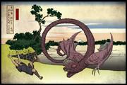 邪神三十六景『突如襲い掛かる宙を舞う大蛇』