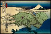 邪神三十六景『川辺に流れ着いた奇妙な鯨の骸』