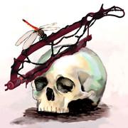 【支援絵】髑髏と血塗れの骨鋸と赤蜻蛉