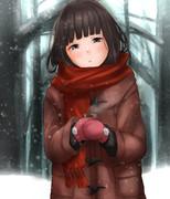 田舎の自販機前の初雪