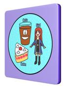 こけし(コーラ、ケーキ、少女)のコースター