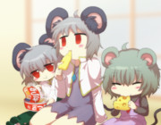 一緒にご飯を食べるネズミ達