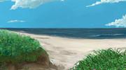 背景:時期外れの海岸