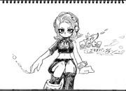 2B鉛筆でタコガール描いてみた【その4】