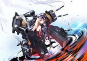 艦砲の硝煙立ち込める戦艦ビスマルク