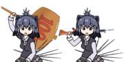 ハンマーを振りかぶる&64式小銃を担ぐヤマアラシ