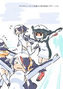 アデリーペンギンとコウテイペンギン×3