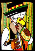 オリキャラ切り絵「タコスを食べる白頭鷲」