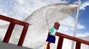 27mのかまぼこ(サメ)を釣る美咲さん