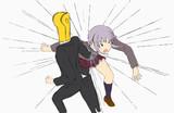 体重乗せた本気のボディーブローを幸子に放つP