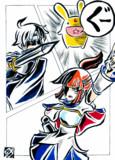 【もどき】アルル&カーバンクル、シェゾ(劇画タッチ?)
