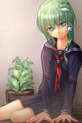 観葉植物とセーラー服