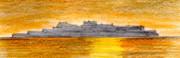 夕日の軍艦島