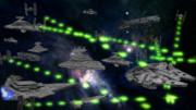 帝国艦隊に追われるファルコン号