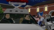 捕まり、パトカーに乗せられたブラック鎮守府の提督