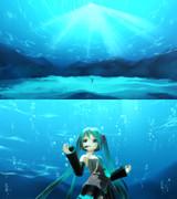 深海ステージ&泡パーティクル