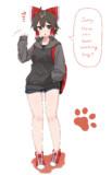 Big hoodie, shorts, and sneakers☆