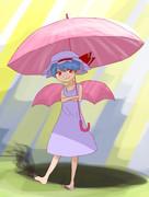 ショートカット日傘ワンピースお嬢様