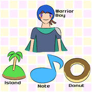 Wind (Warrior-boy, Island, Note, Donut)