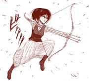 弓を引くサシャ・ブラウス