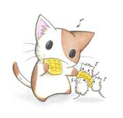 ネズミにメロンパンをあげるにゃんこ