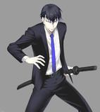 スーツと刀