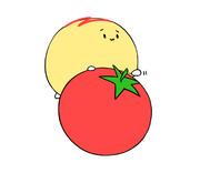 トマトに乗るオムかめ