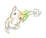 にゃんこをじゃらすネズミ