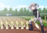 畑仕事をする涼月