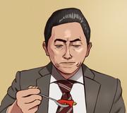 新たな料理を前にためらう吾郎