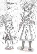 雨の中、傘を差して二人で散歩