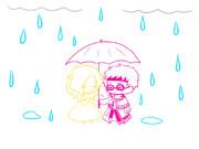 雨の日の妻とルチ