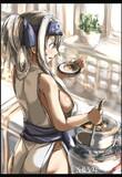 神威、味噌汁を作る。