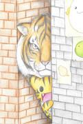 路地から覗く虎の兄弟