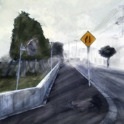 カーブミラーのある道路