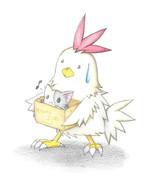 にゃんこを運ぶニワトリ