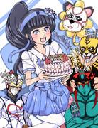 葵ちゃんの誕生日を祝う仲良し三人組