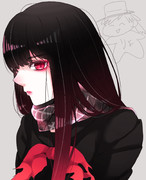 黒髪長髪長身赤目黒服色白強気人外豪腕美女