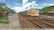 MMD配布:専用軌道と古い時代の木造住宅街の使用例画像