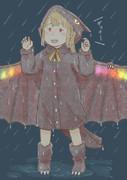 夜雨の中のフランちゃん