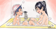ひざをくっつけ仲良くお風呂