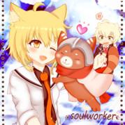 Soulworker ちびキャラ ハルとグルトン+おこアーウィン
