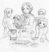 落書き みんなとあいさんの淹れた珈琲でベイクドチーズケーキをつついていたいだけの人生だった