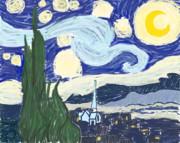 """ゴッホの「星月夜」を模写してみた。 Van Gogh's """"The Starry Night"""""""