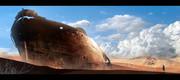 砂漠と廃船