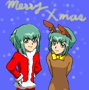 双子でクリスマス描いてみた