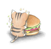 ハンバーガーにひっつくにゃんこ