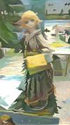 異世界の即売会に来た金髪の耳が長い少女の絵