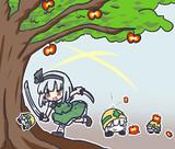 美味しそうなりんごを見つけ自慢の妖刀で収穫するESKちゃんと甘い匂いに釣られて集まるメットール