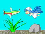 ミニイカ娘と熱帯魚